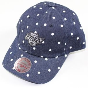 Mitchell & Ness Kings Hockey Dad Hat Cap Denim Dot